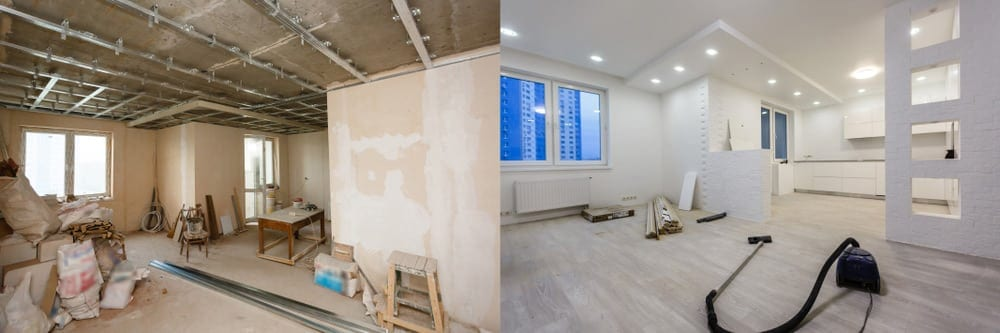 Before and After photo Renovation with new Flooring Installed