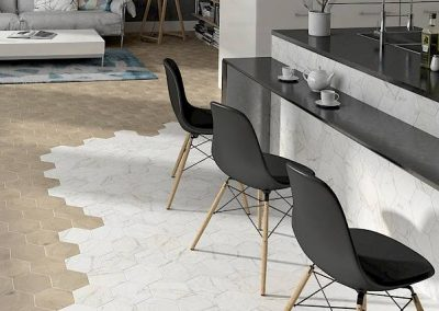 Kitchen Tile Flooring with Decorative Pattern