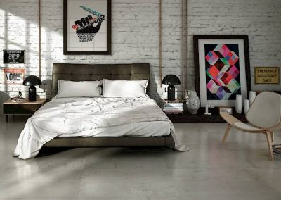Large Tile Flooring Panels and Decorative Tile Wall in Bedroom