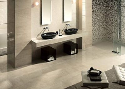 Tile Flooring and Wall Panels for a Bathroom