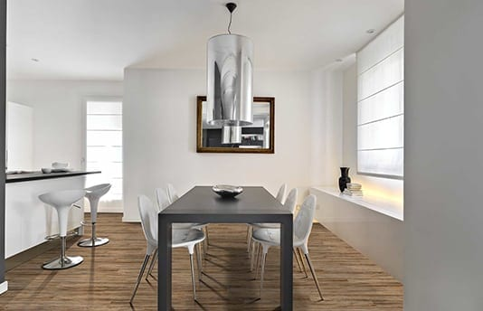 Vinyl Plank Flooring in Dining Room and Kitchen