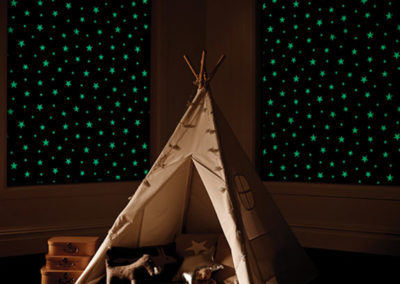 Blackout Roller Blinds with Glow in the Dark stars for Children's Room