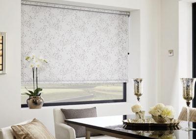 Patterned, Neutral Roller Blinds in Dining Room