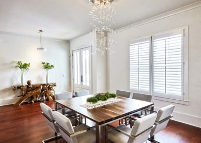 White Shutter Blinds in Dining Room