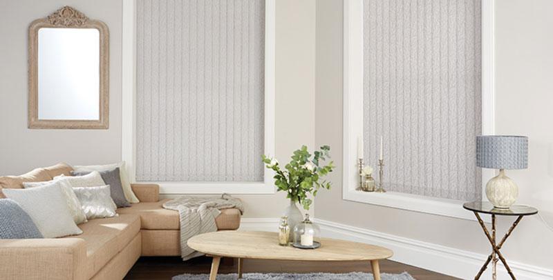 Neutral Vertical Blinds in Living Room