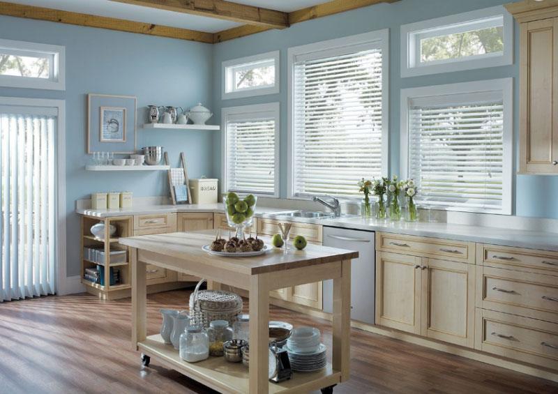 White wooden blinds in kitchen