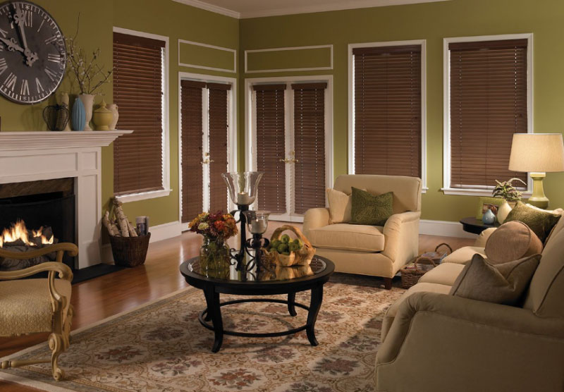 Wooden Blinds in Living Room blocking out all light