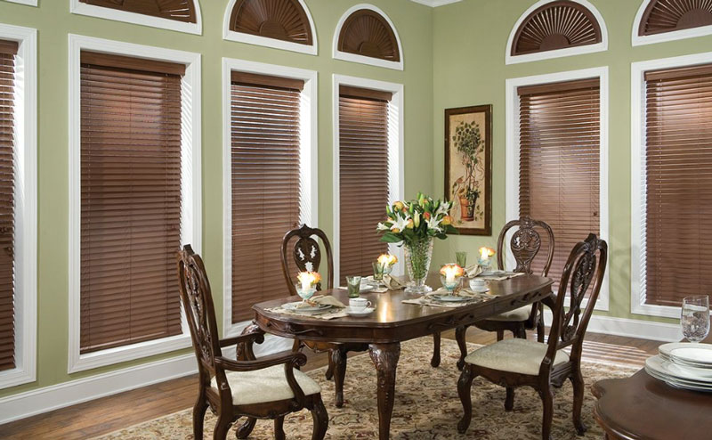 Wooden Blinds in Dining Room with Custom Shape for Arc Windows