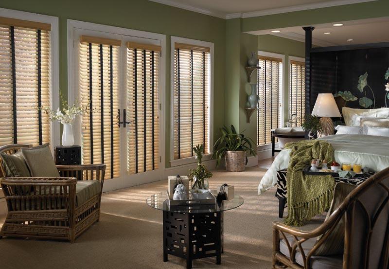Wooden Blinds in Bedroom