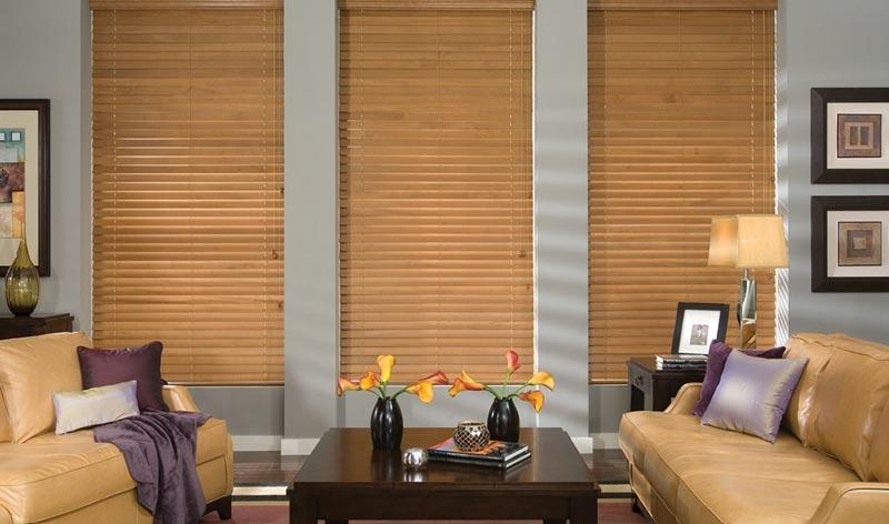 Light Wooden Blinds in Living Room